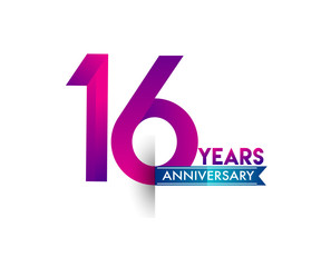 sixteen years anniversary celebration logotype colorful design with blue ribbon, 16th birthday logo on white background