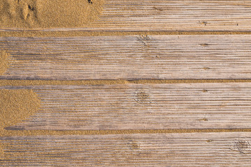 Close up shot of a wooden beach path texture with some sand