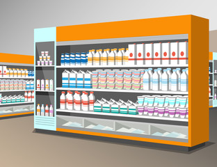 Milk products shelf in the store.