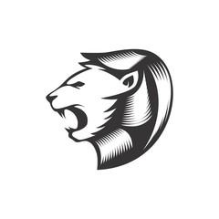 abstract lion head icon logo