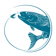 Fish jumping for bait vector