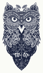 Owl tattoo art. Owl in ethnic celtic style t-shirt design