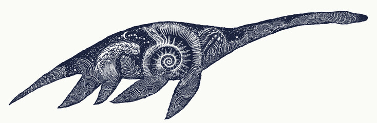 Plesiosaur tattoo art. Nessie, Loch Ness monster. Prehistoric underwater dinosaur double exposure t-shirt design