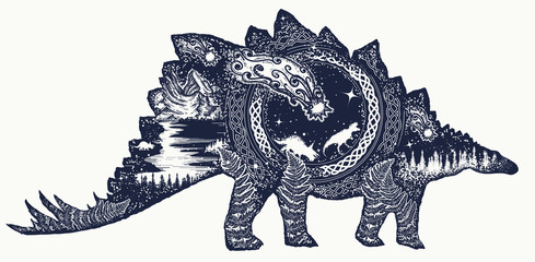Stegosaurus tattoo art. Comet has destroyed dinosaurs. Symbol of prehistoric, paleontology. Stegosaurus double exposure t-shirt design. Why the dinosaurs died out