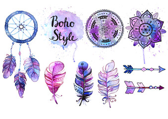 Set of watercolor boho style elements.