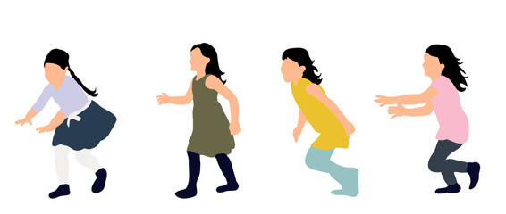 Little girls running, colored silhouettes, vector illustration