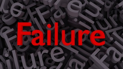 "Red word ""Failure"" on the background of scattered gray words ""Failure"""