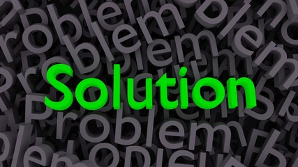 """Green word """"solution"""" on the background of scattered gray words """"problem"""""""
