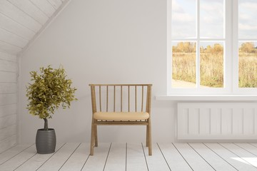 White room with chair and autumn landscape in window. Scandinavian interior design. 3D illustration