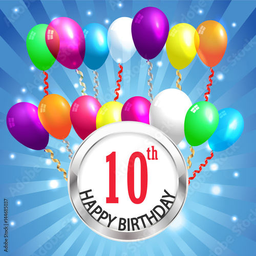 10th Birthday Background 10 Years Celebration Invitation Card