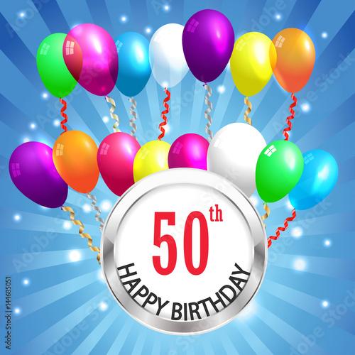 50th Birthday Background 50 Years Celebration Invitation Card Vector Eps 10