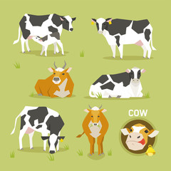 bull milk cow flat design illustration set