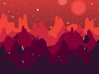 Cosmic landscape vector illustration. Red mountains and plants. Planet and stars
