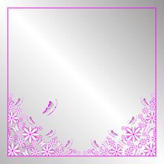 Flower frame. Vintage greeting card template for designer. Vector illustration.