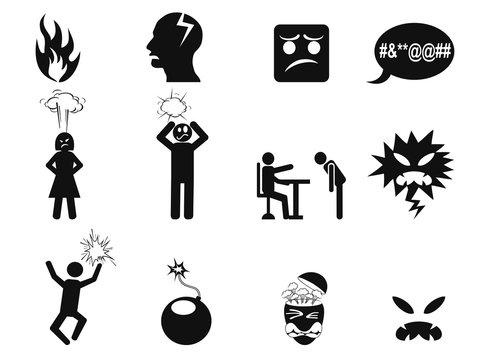 black angry icons set
