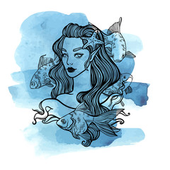 cute vector art card with little princess mermaid. Girl with starfish in hair and fish. linear tattoo illustration