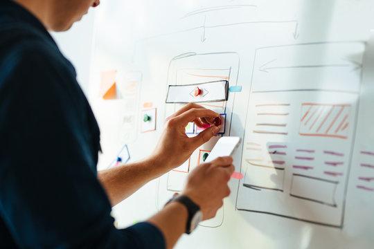 Web designer prototyping responsive website