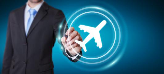 Businessman booking his flight with modern digital application 3D rendering