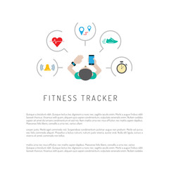 Vector banner with a means of tracking activity, a fitness bracelet. The concept of fitness gadget with icons its functionality.