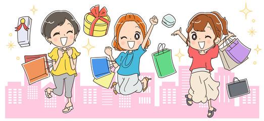 街中で買い物する女性のイラスト