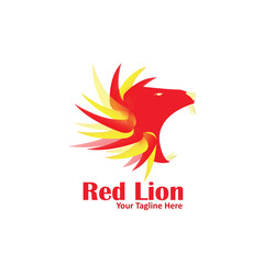 Red Lion Logo Vector Template