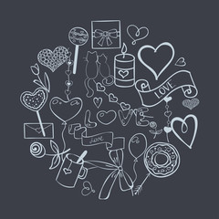Set of vector hand drawn LOVE elements