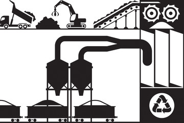 Recycling and processing of scrap metal - vector illustration