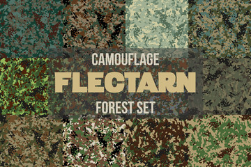Set of Forest Flectarn Camouflage seamless patterns of different colors. Vector Illustration.
