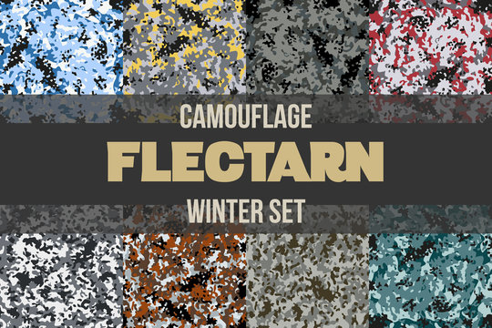 Set of Winter Flectarn Camouflage seamless patterns of different colors. Vector Illustration.
