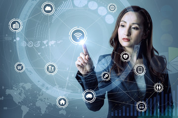 young businesswoman and internet of things concept.