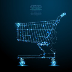 Abstract image of a shopping cart in the form of a starry sky or space, consisting of points, lines, and shapes in the form of planets, stars and the universe. Vector business