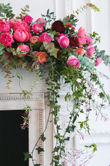 pink and red floral arrangements