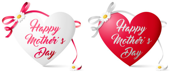 Wall Mural - Happy mother's day heart with flowers and bow