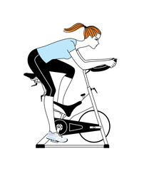 Woman exercising at the stationary bicycle machine. Vector illustration.