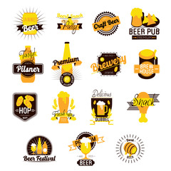 Craft Beer Hand Drawn Logos. Vector illustration
