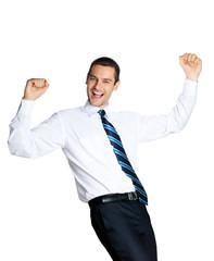 Happy businessman, on white