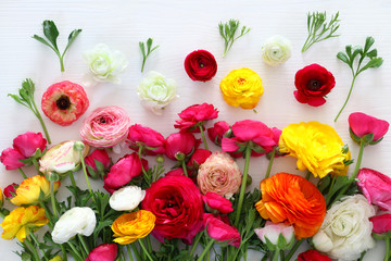 Top view of beautiful flowers arrangement