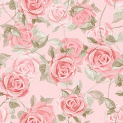 Hand drawn watercolor floral seamless pattern. Roses