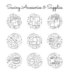 Sewing accessories and supplies line icon set with cross-stitch decorative elements. Sewing machine, overlock, needle, thread, centimeter tape, buttons, hole punch. Vector illustration.
