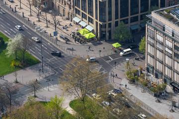 Stadt Straßenverkehr von oben Frankfurt am Main Hessen
