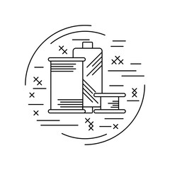 Linear style picture. Line icon with cross stitch decorative elements. Sewing supplies. Thread spool. Vector illustration.