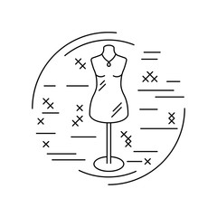 Linear style picture. Line icon with cross stitch decorative elements. Sewing supplies. Tailor's dummy. Vector illustration.