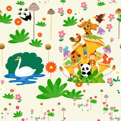 Seamless pattern with animals and flowers spring time