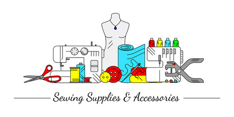 Linear style design collage with sewing icons. Accessories and supplies for tailor studio, sewing store or project. For web-pages, advertising site, signboard or cover. Vector illustration.