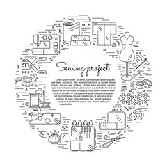 Circle collage with sewing icons. Place for text in centre. Accessories and supplies for tailor studio or project. For logo, advertising, signboard or cover. Vector illustration.