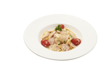 Spaghetti carbonara isolated on white background clipping path.