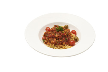 Spaghetti with tomato sauce pork chops  isolate on white background and clipping path.