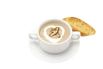 Isolated of Garlic bread with mushroom soup in bowl. White background and clipping path.