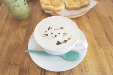 Cat image on Hot milk  froth