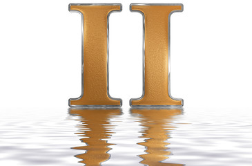 Roman numeral II, duo, 2, two, reflected on the water surface, isolated on  white, 3d render
